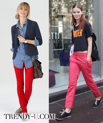 Красные брюки и стиль casual