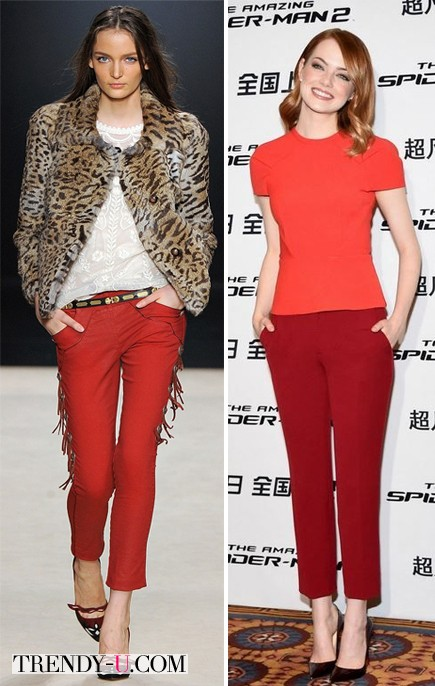 Looks с красными брюками