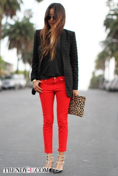 Красные джинсы скинни