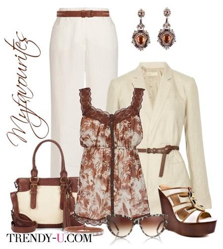 Белые брюки и коричневый топ
