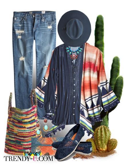 Лук в стиле хиппи и плетеная сумка
