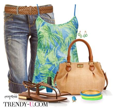 Плетеная сумка из кожзаменителя и лук в стиле casual