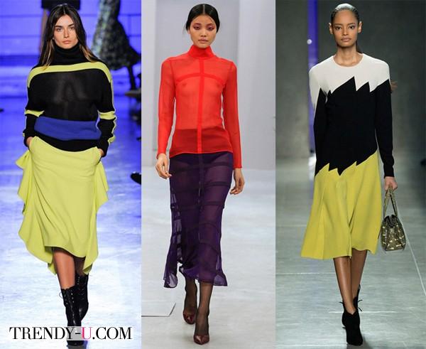 Платья с яркими вставками для осени и зимы 2014-2015