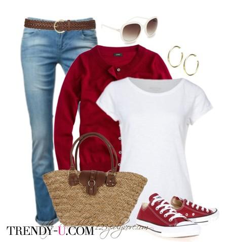 Соломенная сумка-корзинка и джинсы