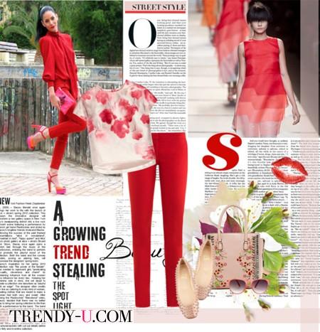 Красные брюки и блузка с принтом