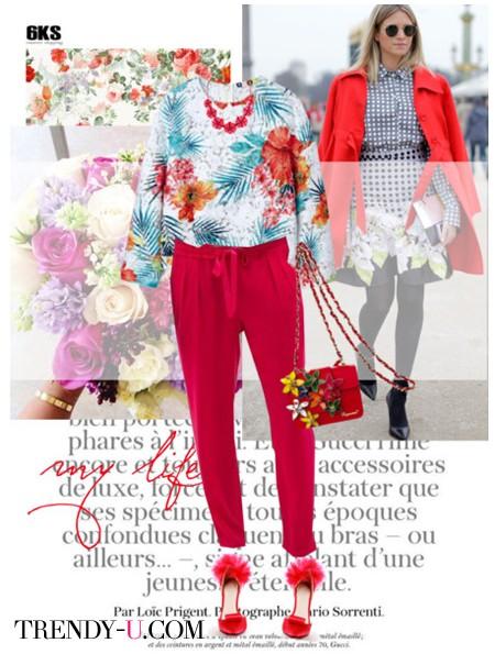 Красные брюки и блузка с цветочным принтом