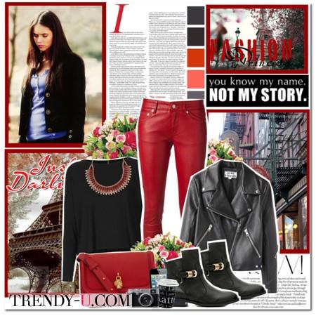 Красные брюки и кожаная куртка-косуха
