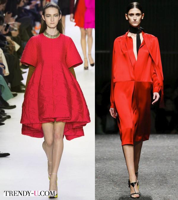 Платья цвета Red Aurora от Prada & Christian Dior осень-зима 2014-2015