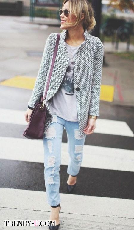 Лук с рваными джинсами и пиджаком для осени 2014