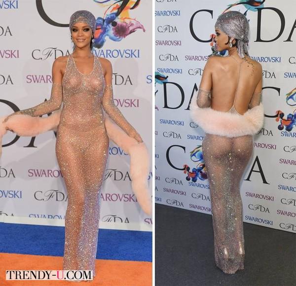 Рианна в ну очень прозрачном платье