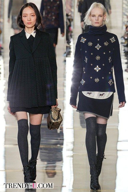 Короткие юбки Alberta Feretti и Tory Burch осень-зима 2014-2015