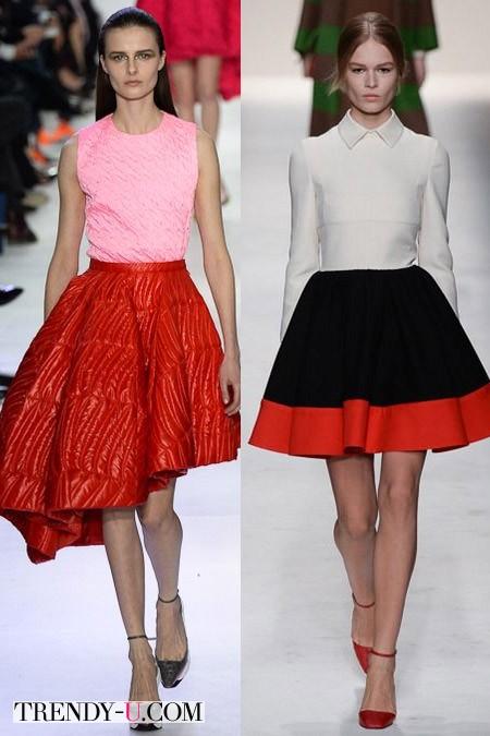 Пышные юбки от Christian Dior и Valentino FW 2014-2015