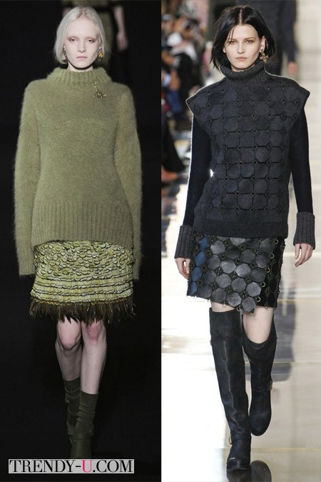 Мини-юбки Alberta Feretti и Tory Burch осень-зима 2014-2015