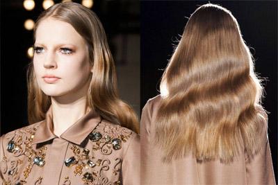 Модные прически осень-зима 2014-2015 на длинные волосы by Rochas