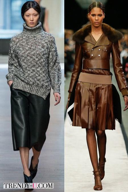 Модные кожаные юбки осень-зима 2014-2015