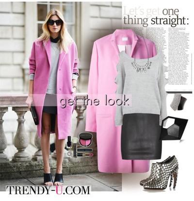 Черная юбка - розовое патьто