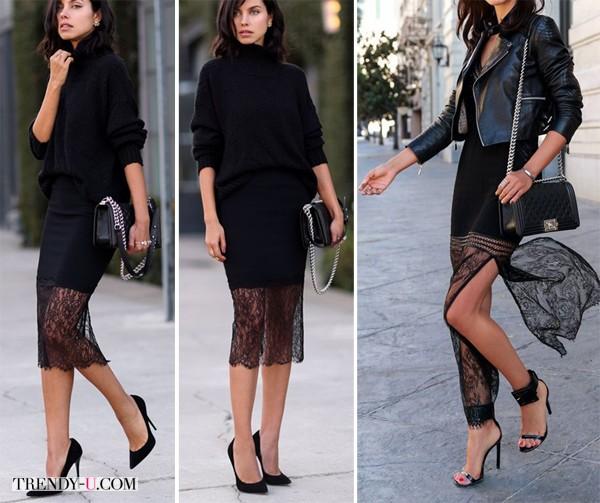 Черная юбка с кружевной вставкой