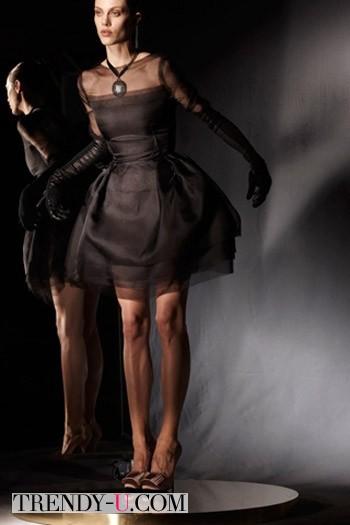 Коктейльное коричневое платье от Lanvin