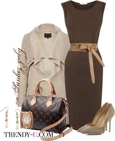 Коричневое платье и бежевое пальто