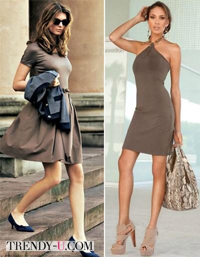 Луки с коричневым платьем для лета