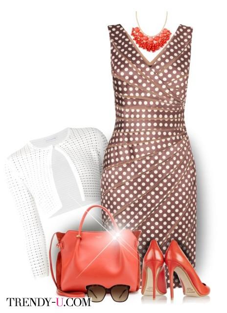 Коричневое платье в белых горох и аксессуары