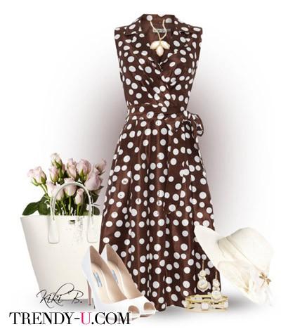 Коричневое платье в стиле ретро