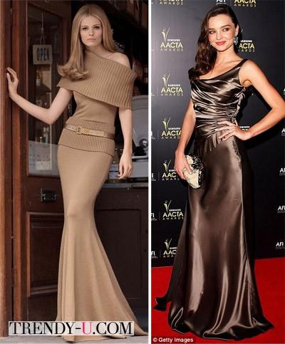 Луки с коричневым платьем