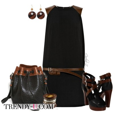 Черное с коричневым платье и аксессуары в тон