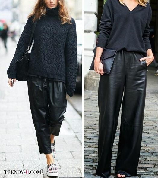 Черные свитеры из шерсти - черные широкие брюки из кожи