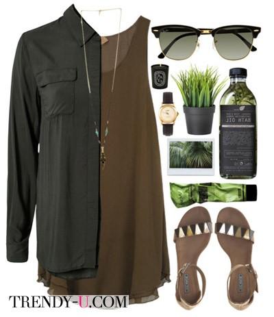 Летнее платье коричневого цвета и рубашка