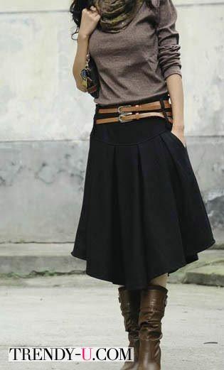 Черная юбка и джемпер