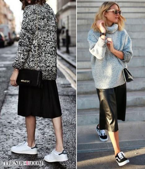 Черная юбка в сочетании с кроссовками и свитером оверсайз
