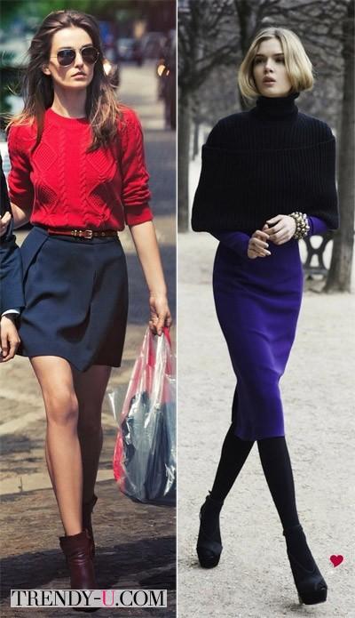 Стильные look'и с синей юбкой
