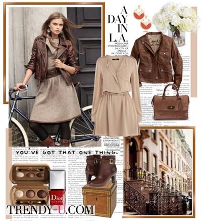 Вот так носить светло-коричневое платье осенью и весной!