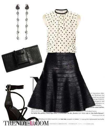 Пышная черная юбка и блузка в горох