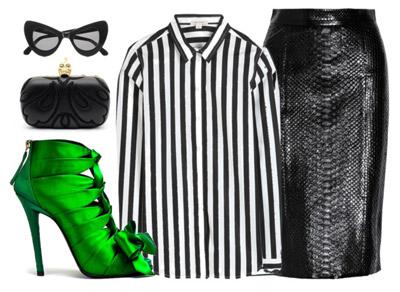 Черная кожаная юбка и блузка в полоску