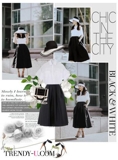 Черная юбка - белая блузка. Просто и стильно