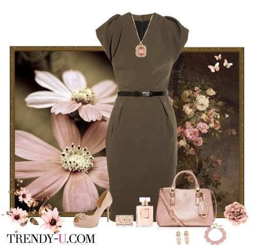 Коричневое платье-футляр и сумка/туфли к нему