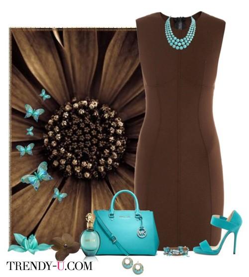 Коричневое платье-футляр и бирюзовый цвет