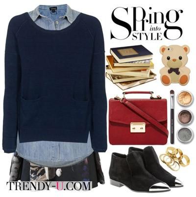Синяя юбка с принтом, джинсовая рубашка, джемпер