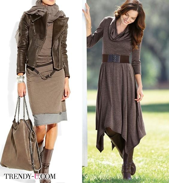 Трикотажные коричневые платья