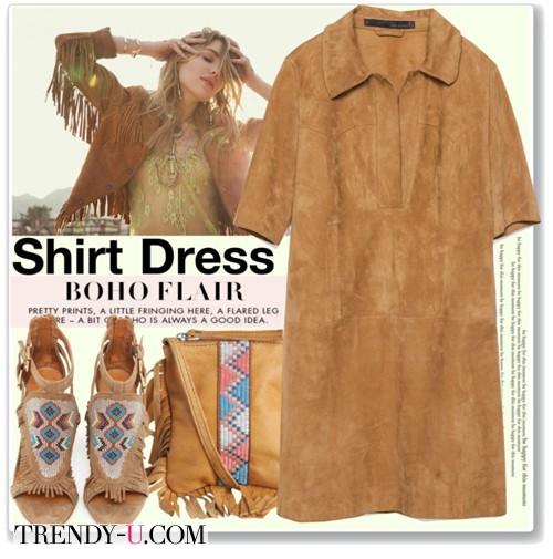 Коричневое замшевое платье-туника в сочетании с аксессуарами в стиле бохо