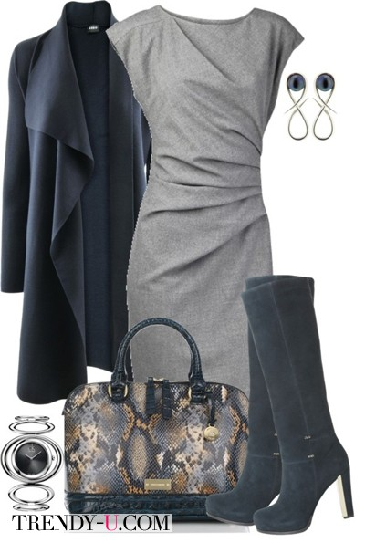 Серое платье, высокие сапоги, пальто и сумка из кожи питона