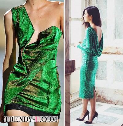 Зеленое коктейльное платье для Новогодней вечеринки