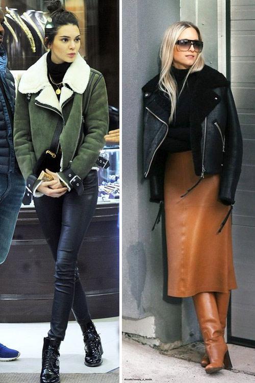 Кендалл Дженнер и неизвестная нам модница в коротких дубленках