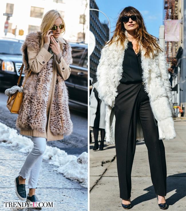 Белая шуба - черный аутфит, леопардовый жилет - джинсы
