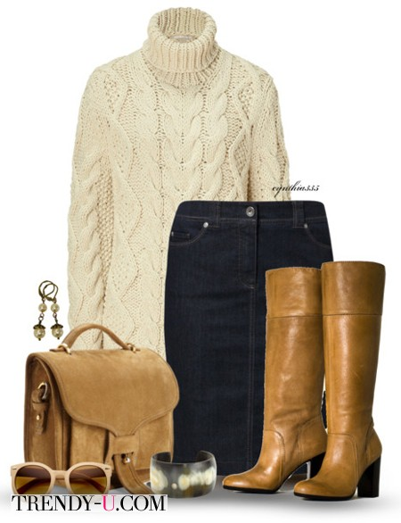 Лук в стиле casual с высокими сапогами и джинсовой юбкой