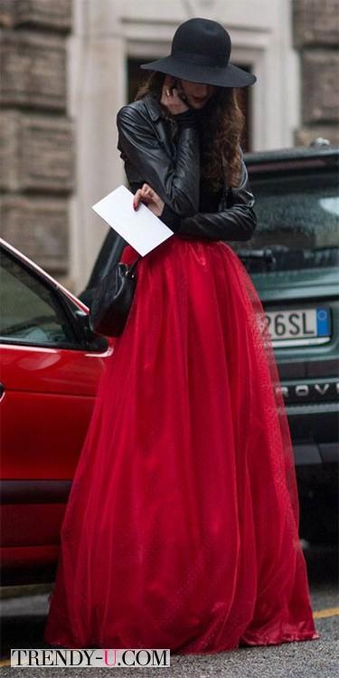Красная длинная юбка из фатина