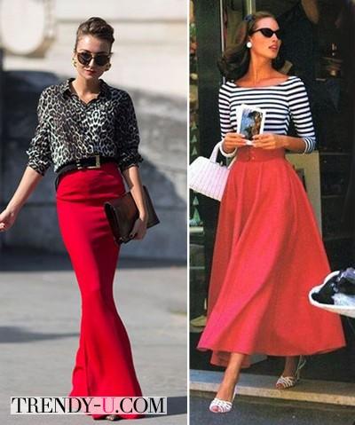 Красные юбки - в пол и миди