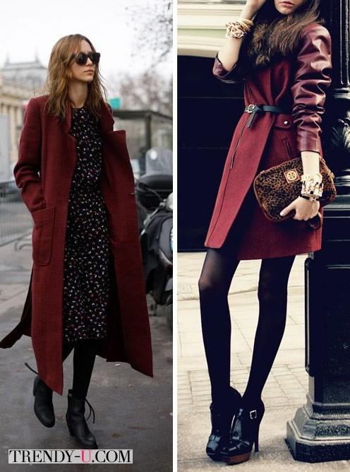 Пальто цвета марсала и черные ботильоны
